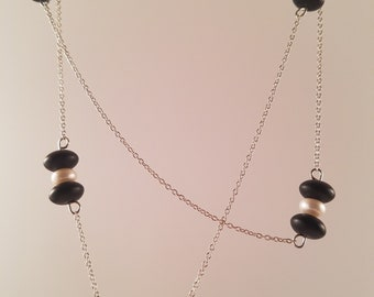 Pearl and Matte Black GLass Sterling Silver Necklace