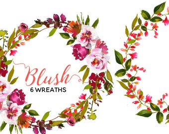 Watercolor Floral Wreaths Peach Blush Flowers Clipart Digital Flowers Pink Peach Peonies PNG Wreaths Clip art Set DIY Wedding Invitation