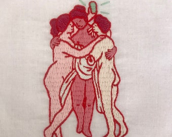 The Three Graces <3 Selfies Pink Embroidery