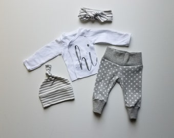 Gender Neutral Baby Coming Home Outfit. Baby Take Home Baby Outfit. Gender Suprise Outfit. Kimono Top Hi! Gray White. Stars Stripes.