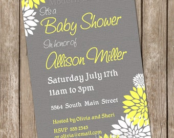 Neutral Baby Shower Invitation Yellow and Grey Flower printable invitation 20130115-K4-5