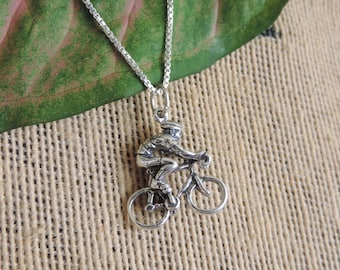 Cyclist Charm  Necklace Sterling Silver with Chain