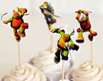READY To SHIP Teenage Mutant Ninja Turtles Inspired Cupcake Toppers, Toppers, Picks, Cake Toppers, Cake Topper Pick, Cupcake Picks, Birthday