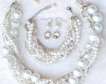 White Bridal Set Chunky Pearl Rhinestone Silver Necklace, Bracelet, Earrings Bridal Statement Wedding Jewelry Twisted Statement - Pearly Q