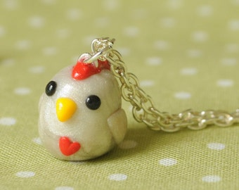 Chicken Polymer Clay Necklace Farm Animal Charm