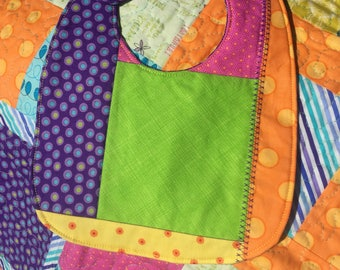 Vibrant Handmade Baby Quilt and Bib Set