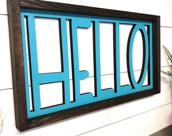 Hello Wooden Sign, Laser Cut Hello Sign, 3d Framed Farmhouse Style Sign