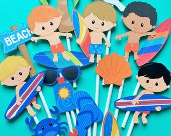 Surfer boy cupcake toppers, beach party, summer party cupcake toppers, surfing themed party toppers