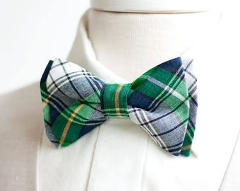 Bow Tie, Mens Bow Tie, Bowtie, Bowties, Bow Ties, Groomsmen Bow Ties, Wedding Bowties, Christmas Bow Tie, Ties - Navy And Green Plaid