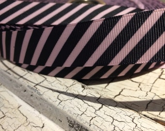"3 yards 7/8"" BLACK and PINK Preppy Diagonal Stripe Grosgrain Ribbon"