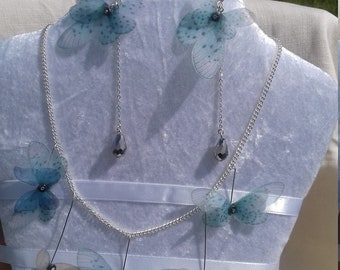 Handmade Silk Organza Butterflies And Silver Plated Necklace and Earrings Jewellery Set