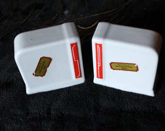 Retro Art Deco Salt and Pepper Shakers - Red and White