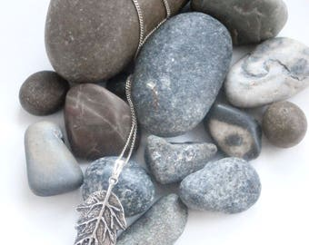 Leaf Pendant - Repurposed Necklace - Sterling Silver - Pendant Necklace
