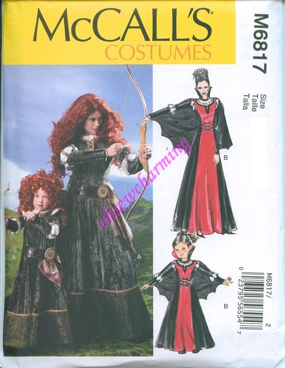 McCalls 6817 Brave Merida Sewing Pattern Costume Sizes S-M-L-XL Gown ...