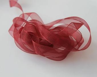 10 meters organza Burgundy - 1 cm Ribbon-