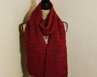 Bean Stitch Scarf (Red)