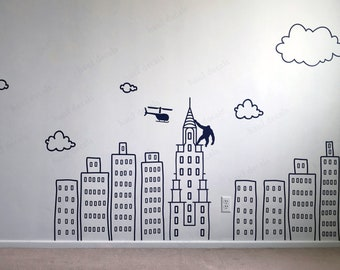 Doodled City Skyline Room Wall Decal | Large vinyl sticker for Nursery, Preschool, Playroom | Boys wall decals idea | Kid's rooms Wall art