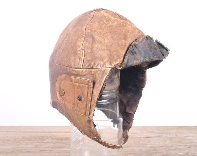 Featured listing image: Vintage WWI Leather Pilots Hat / Army Pilots Helmet / Brown Leather Aviators Hat / Army Uniform / Military Gift Collectible