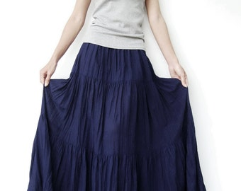 NO.5 Indigo Blue Cotton Gauze, Hippie Gypsy Boho Tiered Long Peasant Skirt