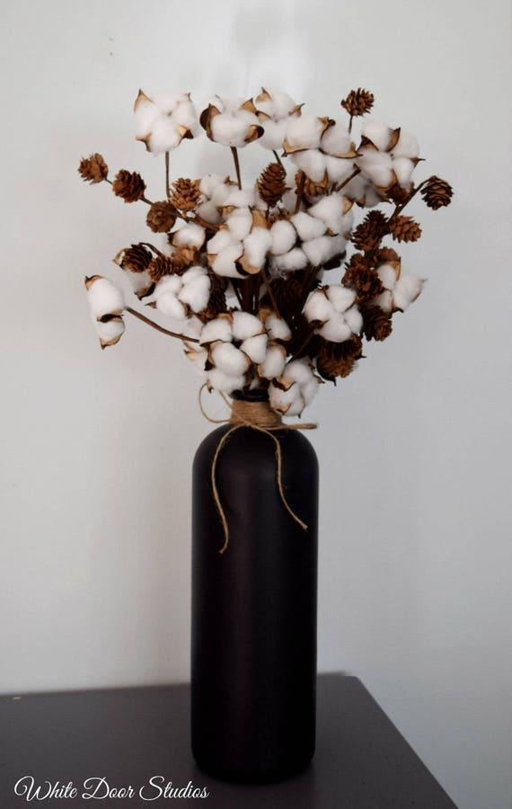 Farmhouse Cotton Arrangement in Black Chalkboard Vase
