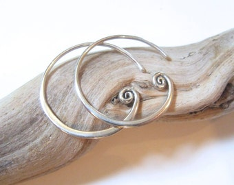 Spiral Sterling Hoop Earrings - Add-a-Charm Earrings Custom Earrings - Sterling Silver SALE