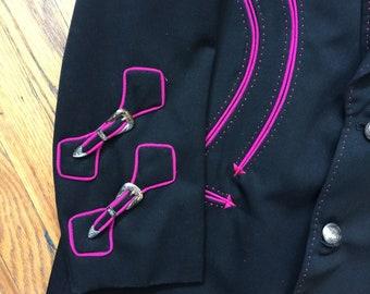 Custom JAIME WESTERN SUIT Showstopper Black jacket pants pink trim Wedding suit Vintage cowboy suit Rockabilly jacket Cowboy suit performer