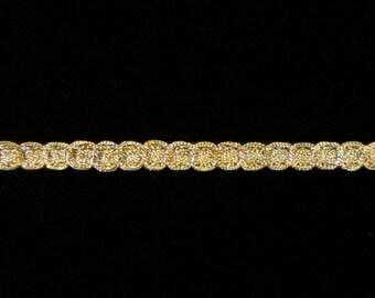 """135.2 Metallic gimp trim """"Narrow Circles"""" antique gold 3/16"""" (5mm), gold metallic trim, antique gold trim, antique gold gimp"""