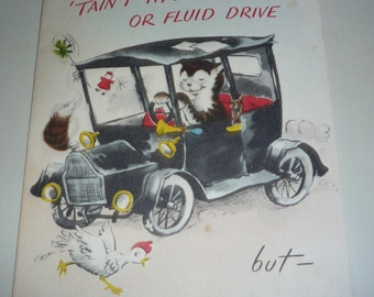 Cat Driving a Car Vintage Norcross Birthday Card