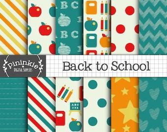 Back To School Digital Paper, Chalkboard Digital Scrapbook Paper, School Supplies, Teacher Patterned Paper, Instant Download, Commercial Use