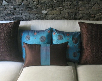 brown and blue art silk oblong cushion cover throw pillow. Bulder pillow  custom  made. 12 X 20