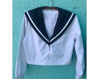 Vintage Cropped Pullover Sailor Shirt- Size S / M