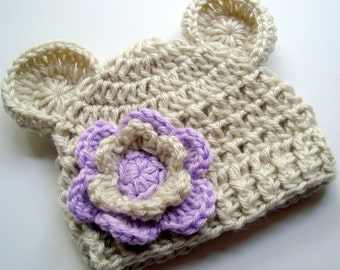 Baby Girl Hat, Crochet Baby Beanie Hat with Ears, Baby Hat, Crochet Hat, Oatmeal and Lavender Purple, 0-3, 3-6 or 6-12 months MADE TO ORDER