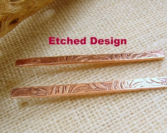 Etched or Hammer Textured Copper Bar Earrings - Options in length, design and finish