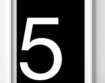 Black and white print, wall decor, modern art, number 5 poster, printable wall art, digital print, Scandinavian poster, numbers print