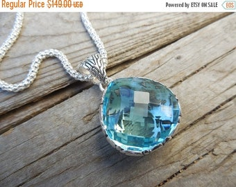 ON SALE Beautiful Blue topaz necklace handmade in sterling silver