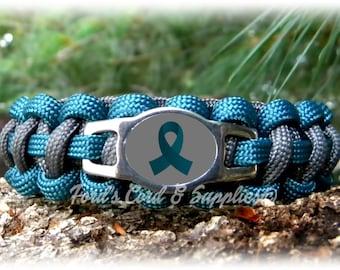 Teal Awareness Bracelet, Paracord Survival Bracelet, Ovarian Cancer, Cervical Cancer, Myasthenia Gravis, PTSD, Tourette's Syndrome, Survivor