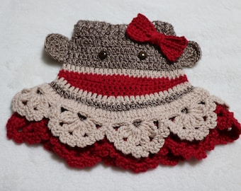 Sock Monkey Butt Skirt Crochet Pattern PDF