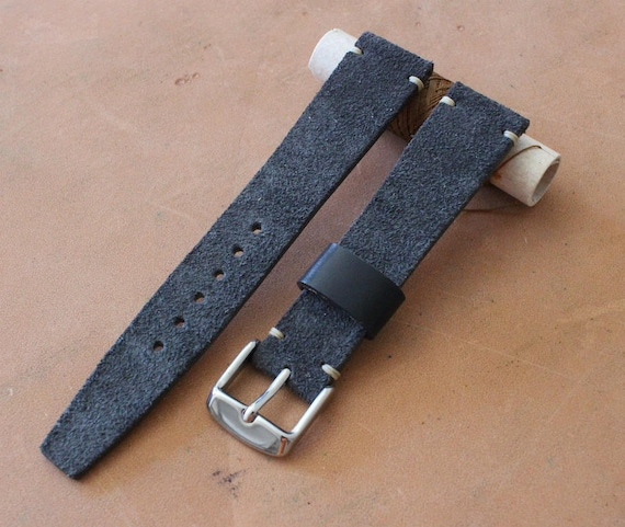 VTG style Custom Suede leather watch band with simple stitching - Black, Grey, Dk. Brown