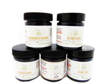 Natural Five Salve Gift Set, Organic, Natural, Healing Herbs, Pure Essential Oil