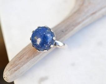 Sterling Silver Lapis Lazuli Ring, Labis Cabochon Ring, Sterling Lapis Ring, Sterling Lapis Jewelry, Blue Gemstone Ring, Simple Lapis Ring