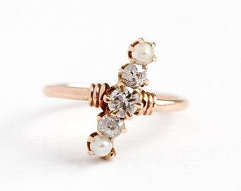 Sale - Diamond & Pearl Ring - Antique 18k Rose Gold Elongated Navette Midi - Vintage 1900 Size 2 1/2 Edwardian Five Gem Asymmetrical Jewelry