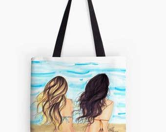 The Beach Bag TOTE (Fashion Illustration art  Home Decor Gift Ideas  Gifts for Her Wedding Gifts Graduation Gifts Birthday Gifts)