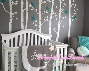 Tree Wall Decal, Birch Trees Wall Decals, Vinyl Wall Decal, Wall Stickers Nursery-set of 6 White Trees with Teal Birds-DK243