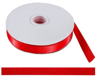 Roll of 10 Red 10mm Double sided satin ribbon