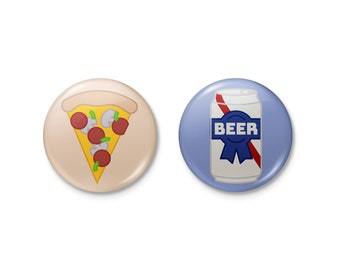 Magnets | Pizza & Beer Magnet Badge Button Set | pizza beer pabst