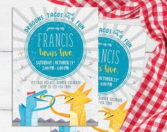 Dragons Love Tacos Invitation, Dragons Birthday, Tacos Party, Dragon Invite, Dragon Tacos Printables, Kids Card, Baby Shower Supplies