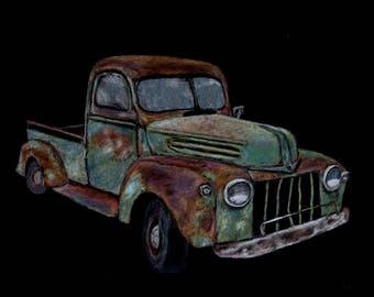 old, vintage, Ford, truck, pastel, chalk, print
