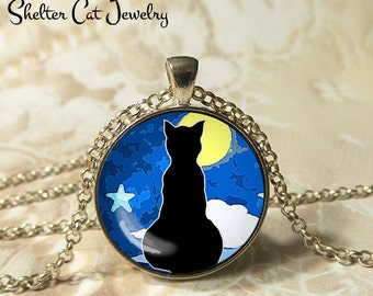"""Black Cat Silhouette and Yellow Moon Necklace - 1-1/4"""" Circle Pendant or Key Ring - Wearable Art Photo - Cat Gothic Halloween Cat Lover Gift"""