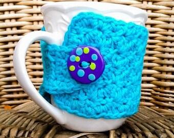 Crocheted Mug Cozy - Coffee Sleeve - Coffee Cozy - Cup Sleeve - Handmade Button - Polymer Button - Reusable Coffee Sleeve - Teacher Gift