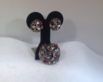 Red Brooch and Earrings